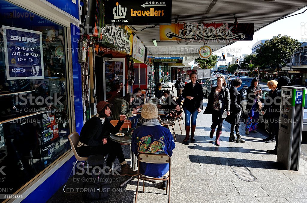 Visitors at K Road in Auckland, New Zealand stock photo