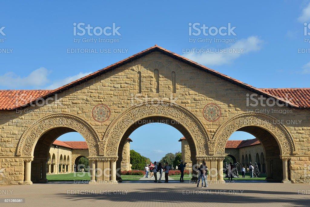 Visitors At Main Quad Of Stanford University Stock Photo
