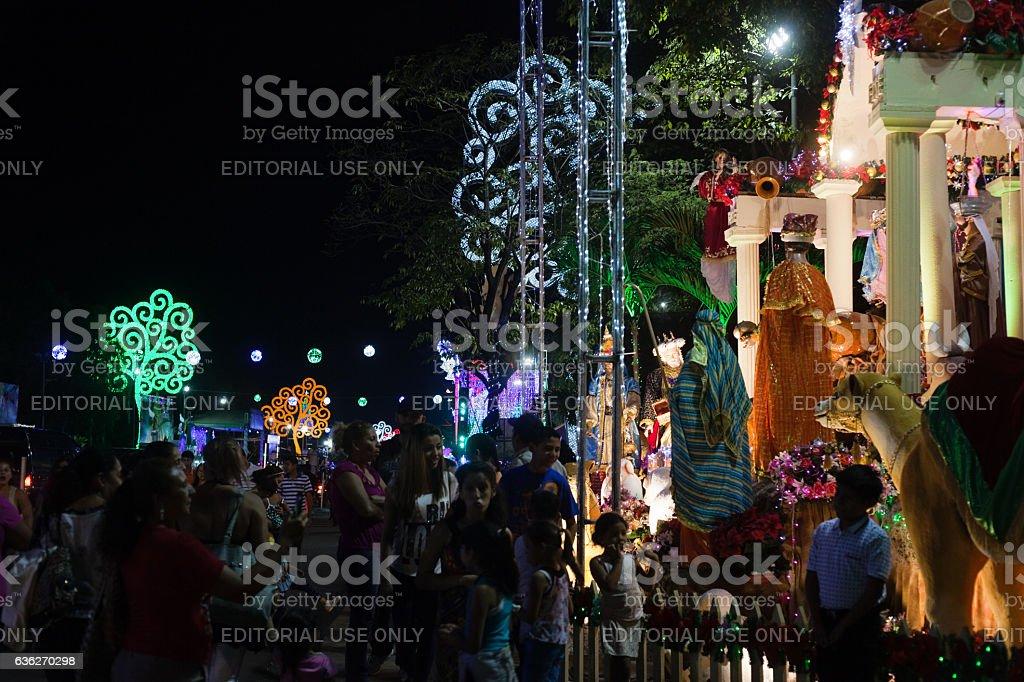 Visitors at Managua Nativity Set Exchibit stock photo