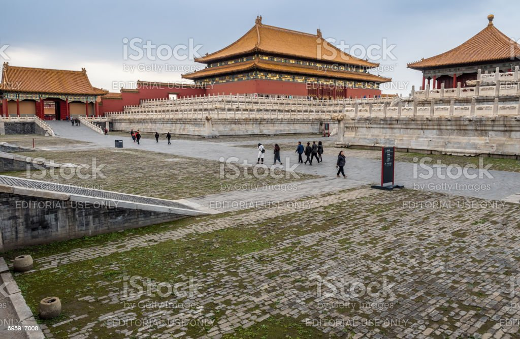 Visitors at the Forbidden City (Gu Gong, Palace Museum) stock photo