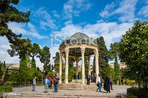Visitors at the tomb of the famous poet Hafez in Shiraz, Fars Province, Iran.