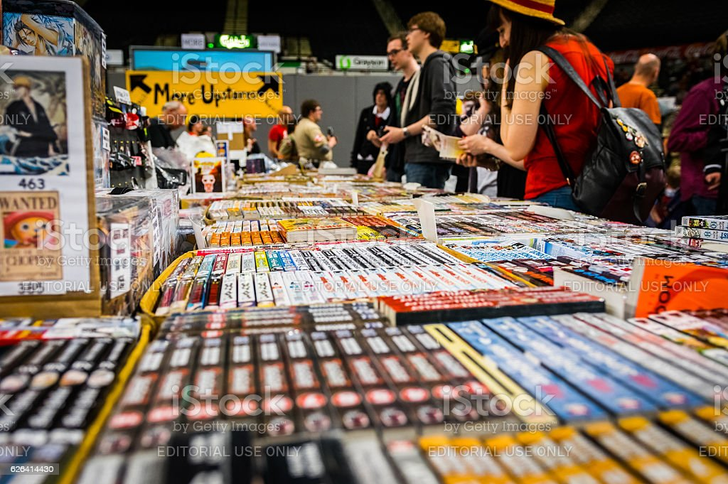 Visitors browse a stall at Yorkshire Cosplay Convention stock photo