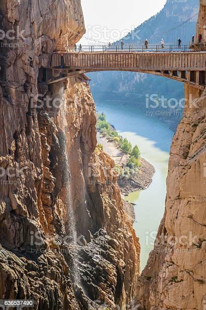 Photo of Visitors crossing the suspension bridge at Caminito del Rey Path