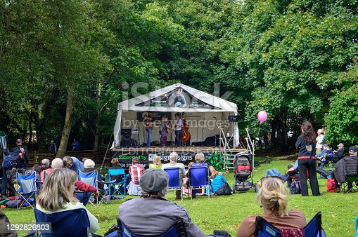 Omagh, County Tyrone, Northern Ireland, Sep., 2017. Visitors enjoy the live music in Ulster American Folk Park in Northern Ireland.