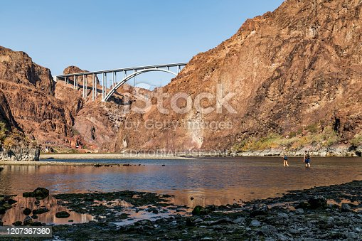 Las Vegas, Nevada, USA - November 9, 2019: Visitors enjoy the nature trail and view of Colorado River just south of Hoover Dam. One of the most difficult nature trail near Las Vegas but offer the most dramatic scene of Colorado River.