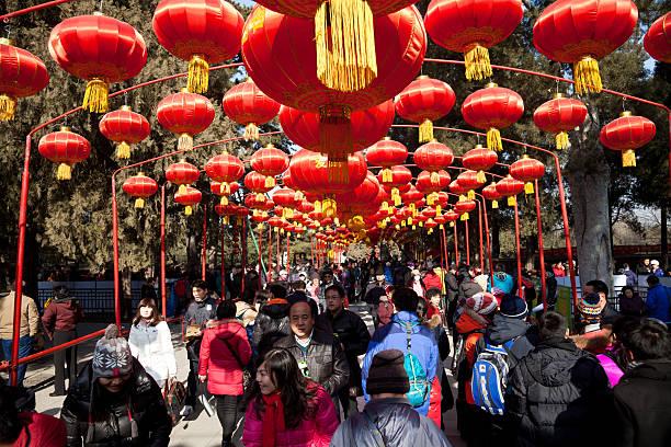 Visitors enjoy the Spring Festival Temple Fair