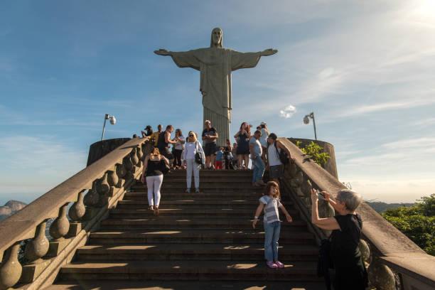 Visitors Enjoying Christ the Redeemer Statue stock photo