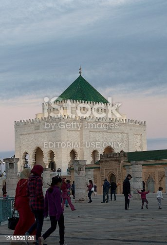 Rabat, Morocco - November 06, 2016: Visitors in front of the Mausoleum of Mohammed V in Rabat