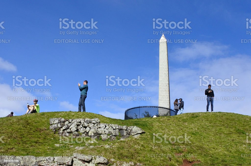 Visitors in One Tree Hill in Cornwall Park in Auckland New Zealand....