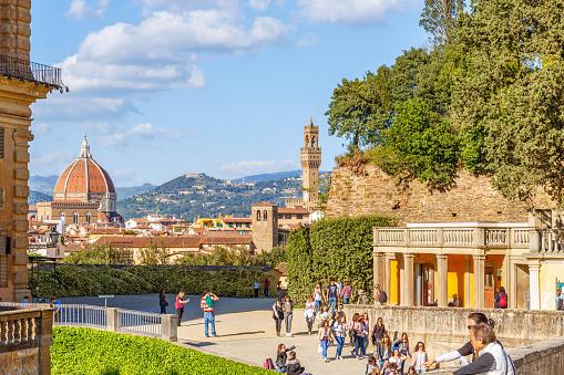 Visitors in the Boboli Gardens in Florence