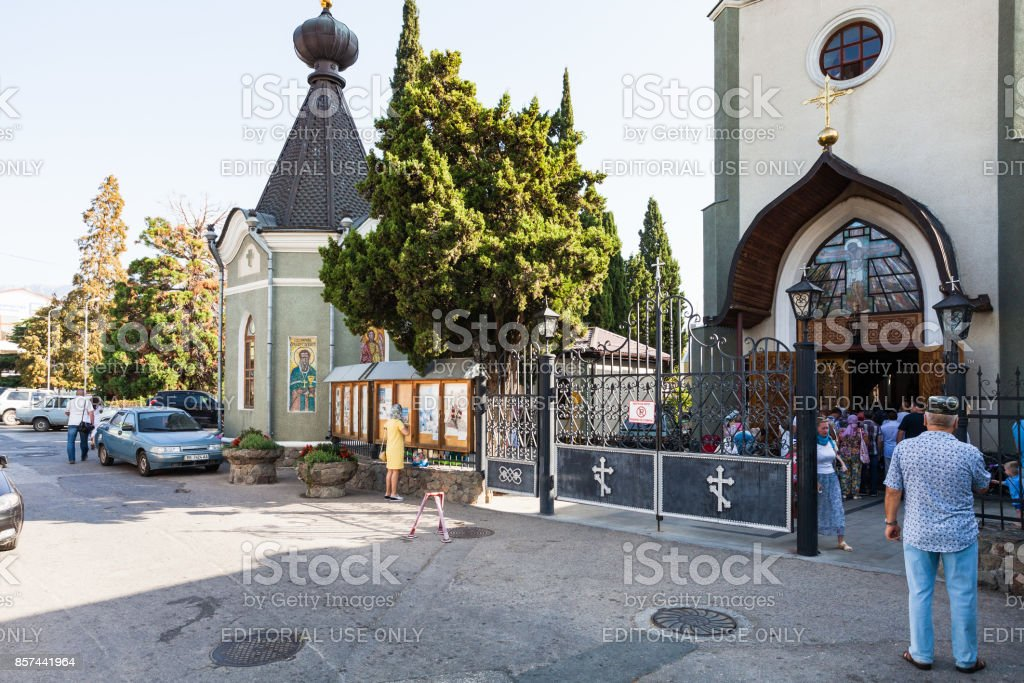 visitors near The Church of Theodore Stratelates stock photo