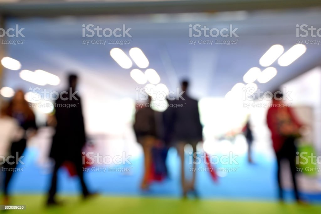 Visitors to a Tradeshow stock photo