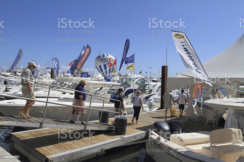 Visitors to West Palm Beach boat show stock photo