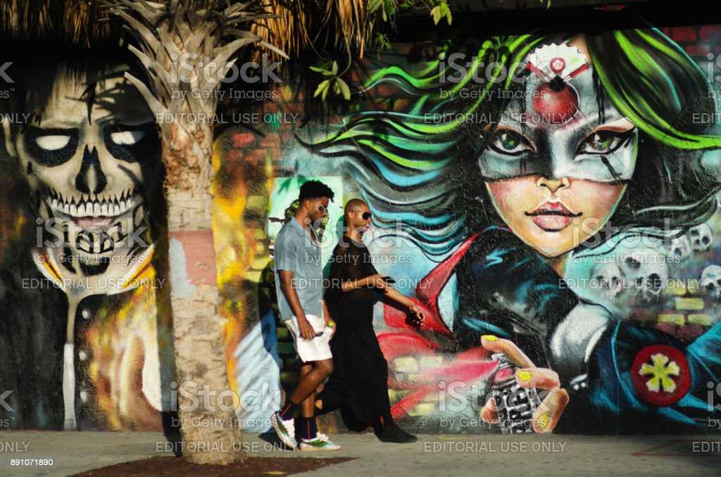 Visitors to Wynwood during Art Basel Miami stock photo