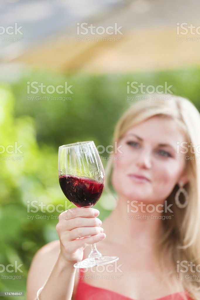 Visitors Tourists Enjoying Wine Tasting Outdoor at Winery Vineyard Vt royalty-free stock photo