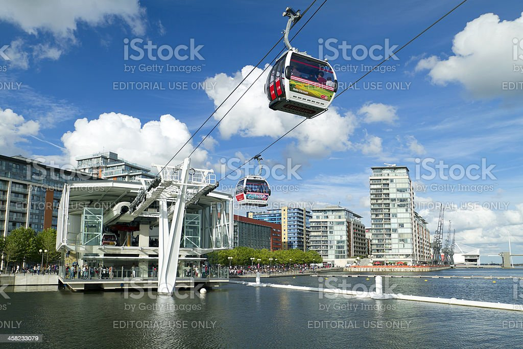Visitors travel on the Emirates London cable car royalty-free stock photo