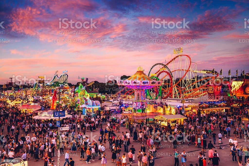 Visitors Walking Through Oktoberfest Fairgrounds, Munich, Germany stock photo