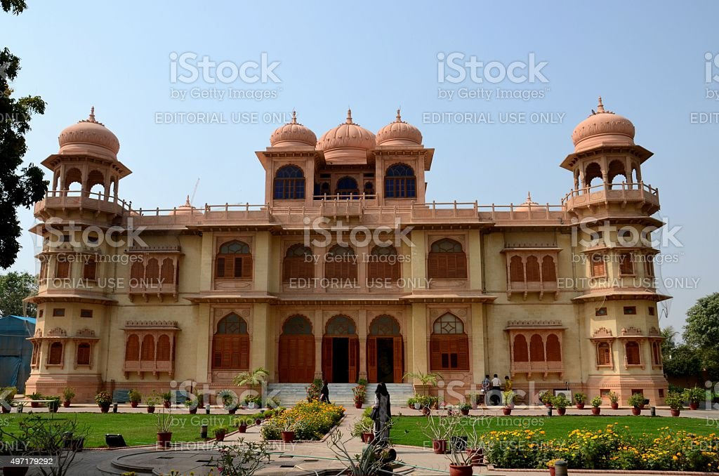 Visitors wander gardens of Mohatta Palace Museum Karachi Sindh Pakistan stock photo