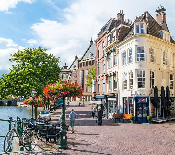 Vismarkt street in Leiden, Netherlands Leiden, Netherlands - August 9, 2016: Street scene of Vismarkt in old town of Leiden, South Holland, Netherlands leiden stock pictures, royalty-free photos & images