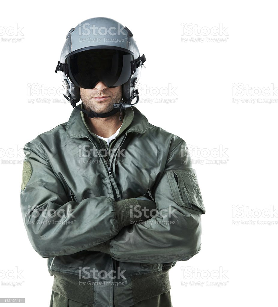 Visor down ... all set for flight! stock photo