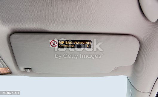 Car visor with Air Bag Warning Sign and symbol. Horizontal.