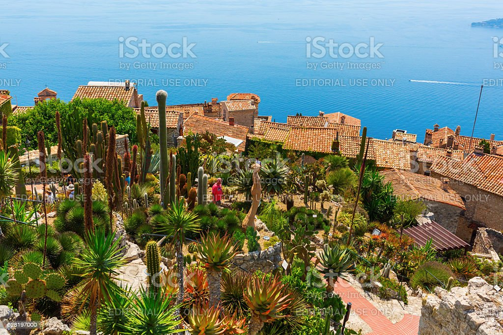 vista from the exotique garden in Eze, France stock photo