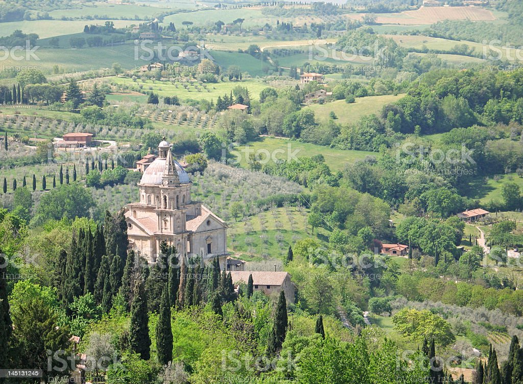 Vista of Tuscan countryside and cathedral royalty-free stock photo