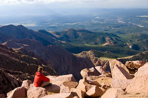 Vista Scenic View from Pikes Peak Summit Colorado stock photo