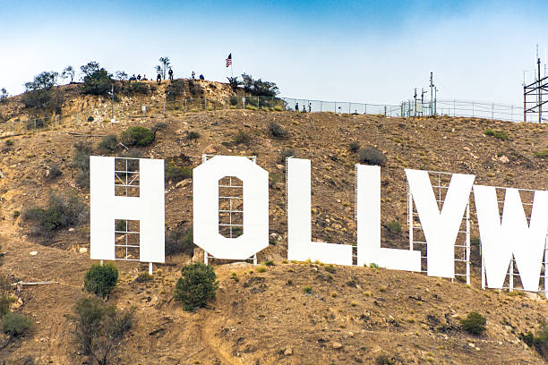 Visting the Hollywood Sign stock photo