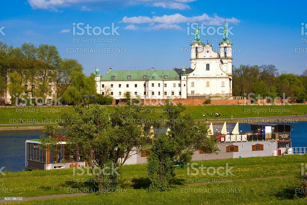 Vistula river and St. Stanislaus Church, Cracow, Poland stock photo