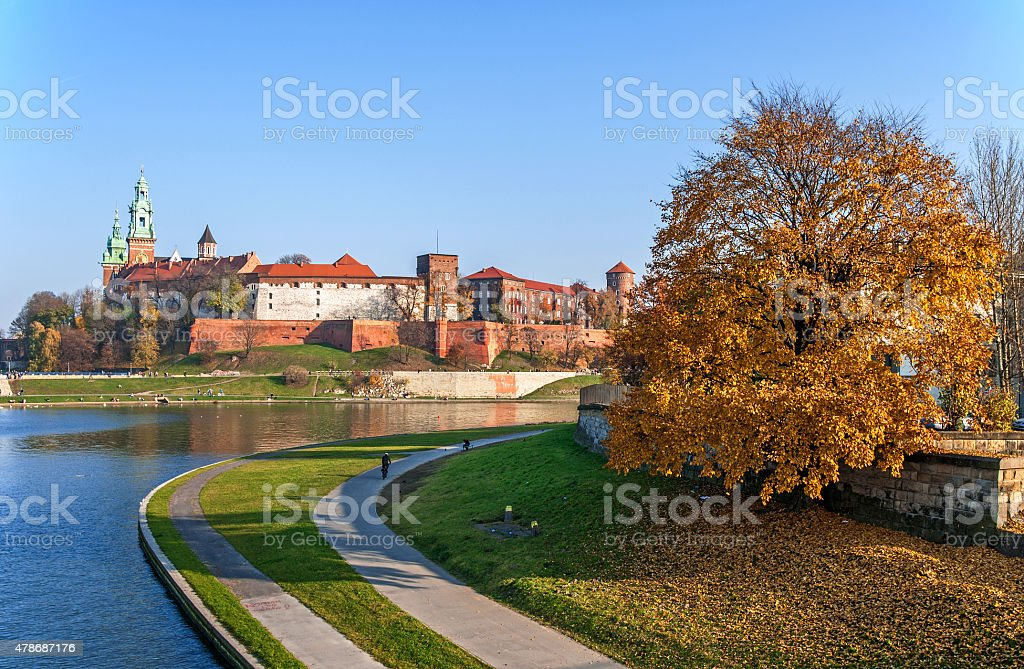 Vistula River and Wawel in Fall, Cracow Poland stock photo