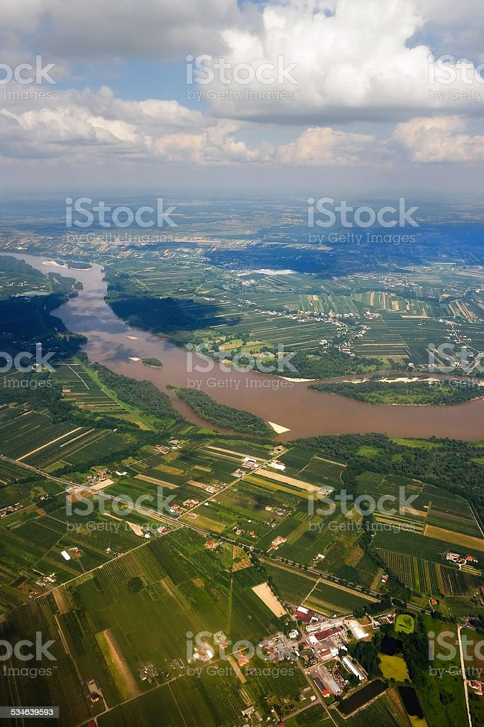 Vistula River in Poland from the air. stock photo