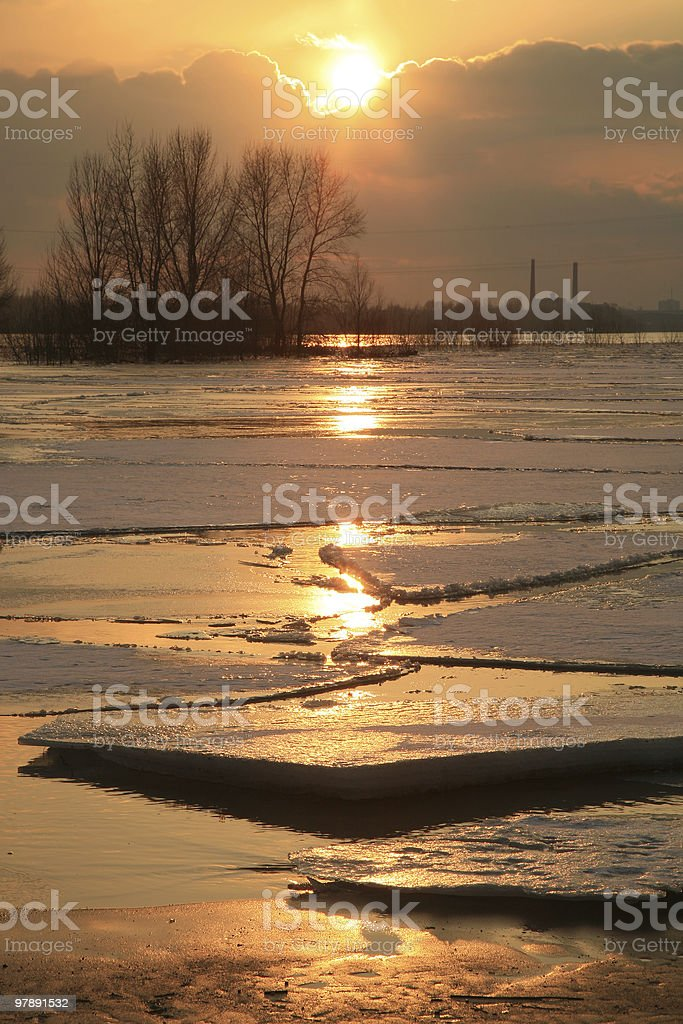 Vistula river in Poland - sunset. royalty-free stock photo
