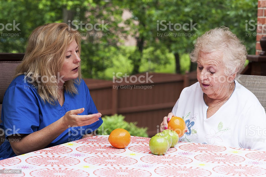 Visual comprehension training in stroke rehab stock photo