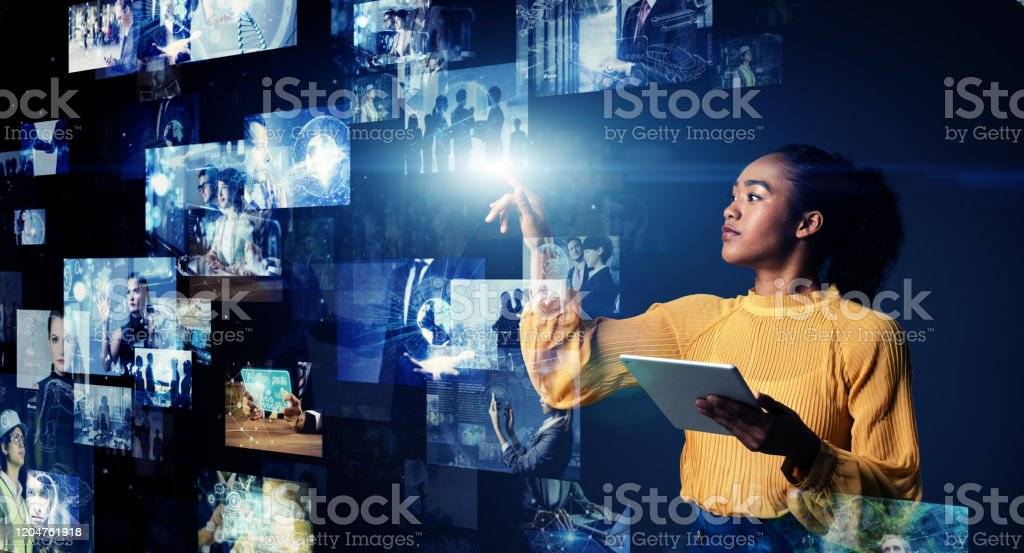 Visual contents concept. Social networking service. Streaming video. communication network. - Royalty-free 5G Stock Photo
