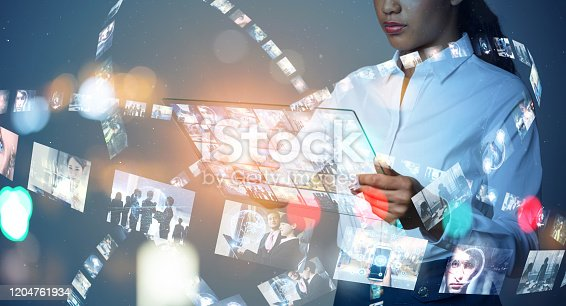1029147344 istock photo Visual contents concept. Social networking service. Streaming video. communication network. 1204761934