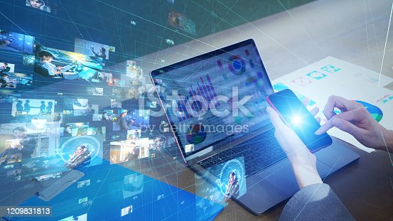 istock Visual contents concept. Social networking service. Streaming video. communication network. 1209831813