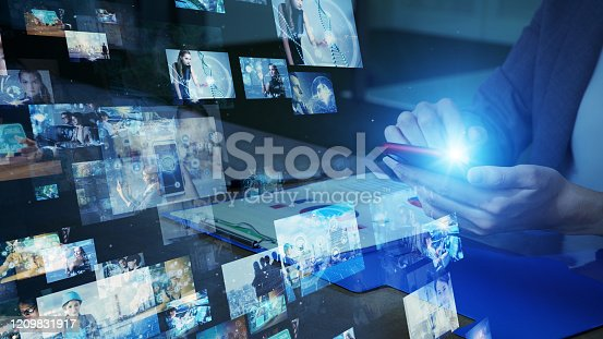istock Visual contents concept. Social networking service. Streaming video. communication network. 1209831917