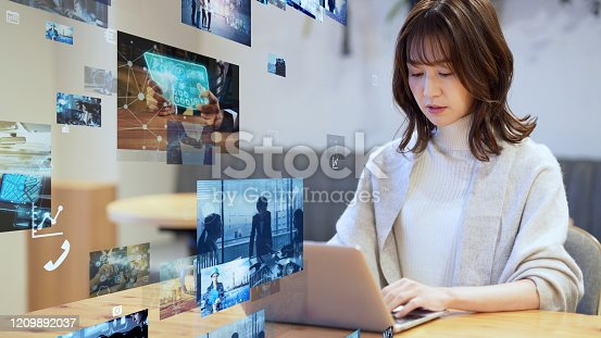 1029147344 istock photo Visual contents concept. Social networking service. Streaming video. communication network. 1209892037