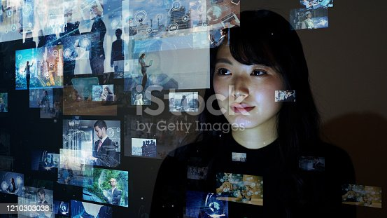 1146418904 istock photo Visual contents concept. Social networking service. Streaming video. communication network. 1210303038