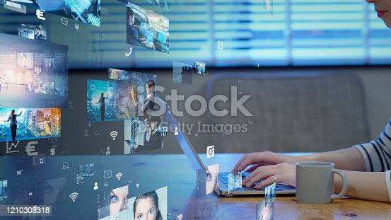 1029147344 istock photo Visual contents concept. Social networking service. Streaming video. communication network. 1210303318
