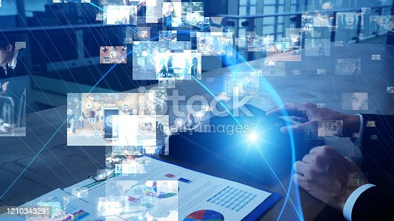913588258 istock photo Visual contents concept. Social networking service. Streaming video. communication network. 1210343291