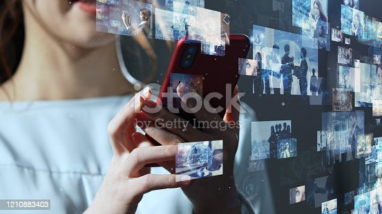 1129543888 istock photo Visual contents concept. Social networking service. Streaming video. communication network. 1210883403