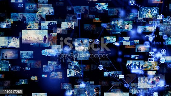 1146418904 istock photo Visual contents concept. Social networking service. Streaming video. communication network. 1210917265