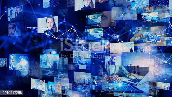 1146418904 istock photo Visual contents concept. Social networking service. Streaming video. communication network. 1210917298