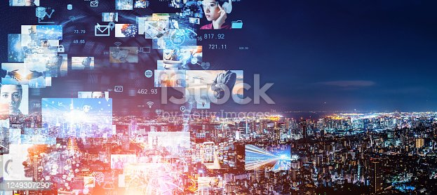1146418904 istock photo Visual contents concept. Social networking service. Streaming video. communication network. 1249307290