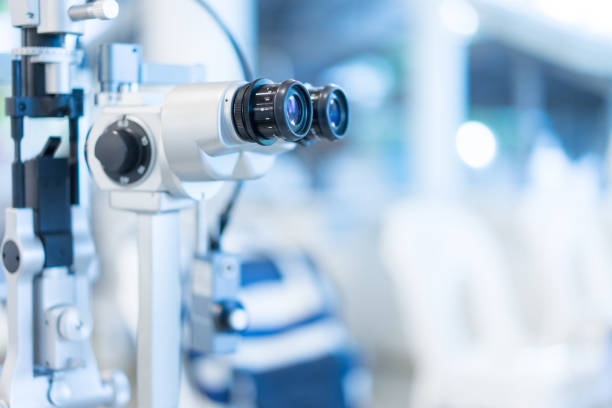 visual inspection in the hospital for myopia patients. - optometrist stock pictures, royalty-free photos & images