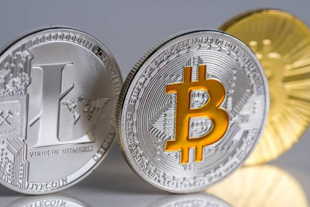 Visual representation of Bitcoin and Litecoin virtual money, cryptocurrency stock photo