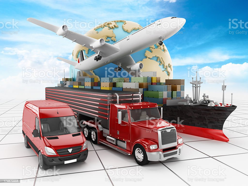 Visual representation of transportation modes stock photo