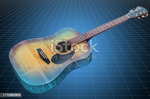 istock Visualization 3d cad model of acoustic guitar, blueprint. 3D rendering 1170983903